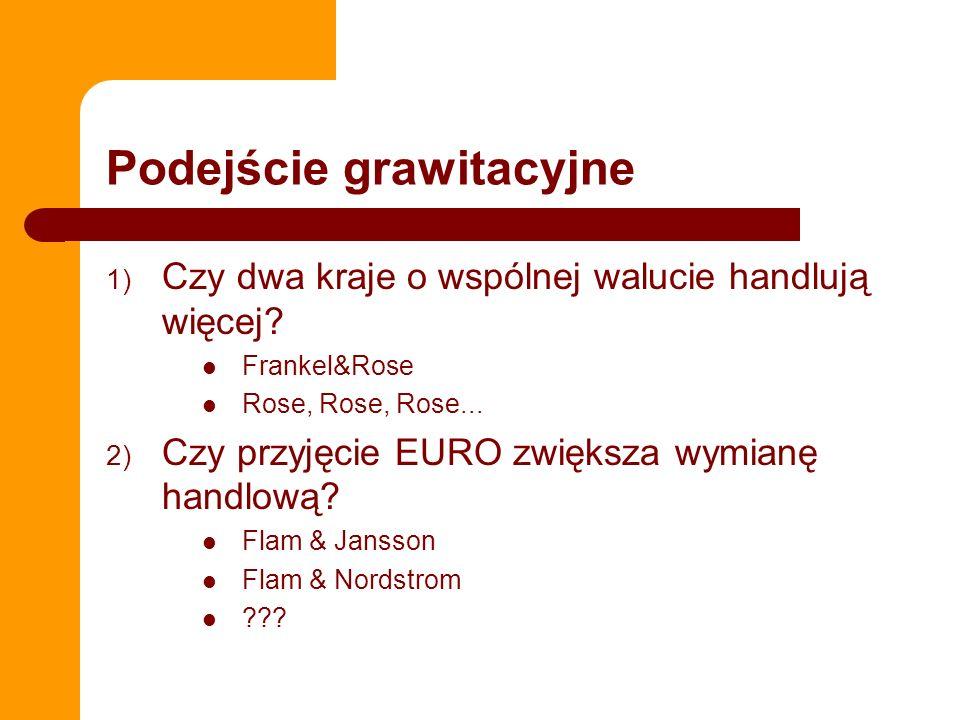 Podejście grawitacyjne 1) Czy dwa kraje o wspólnej walucie handlują więcej? Frankel&Rose Rose, Rose, Rose... 2) Czy przyjęcie EURO zwiększa wymianę ha
