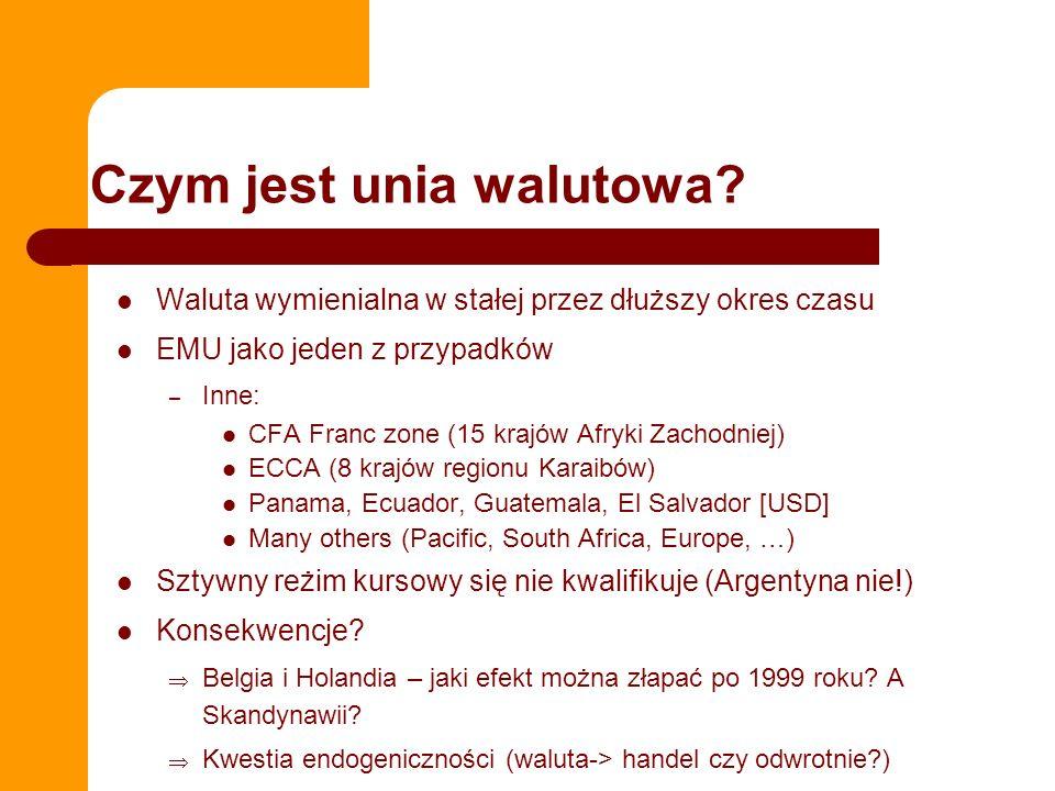 Czym jest unia walutowa? Waluta wymienialna w stałej przez dłuższy okres czasu EMU jako jeden z przypadków – Inne: CFA Franc zone (15 krajów Afryki Za