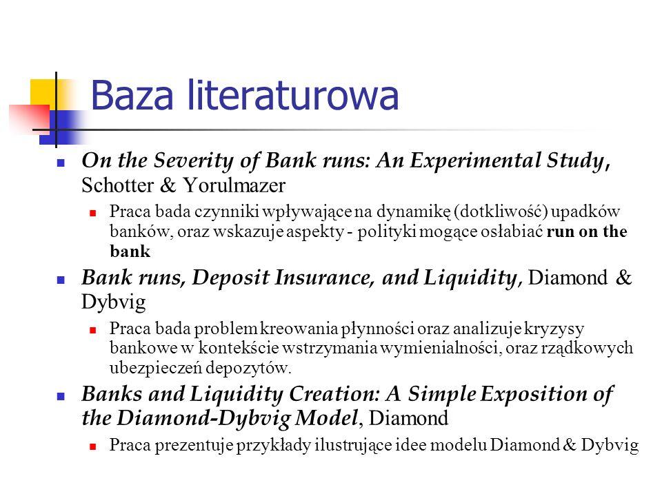 Baza literaturowa On the Severity of Bank runs: An Experimental Study, Schotter & Yorulmazer Praca bada czynniki wpływające na dynamikę (dotkliwość) u