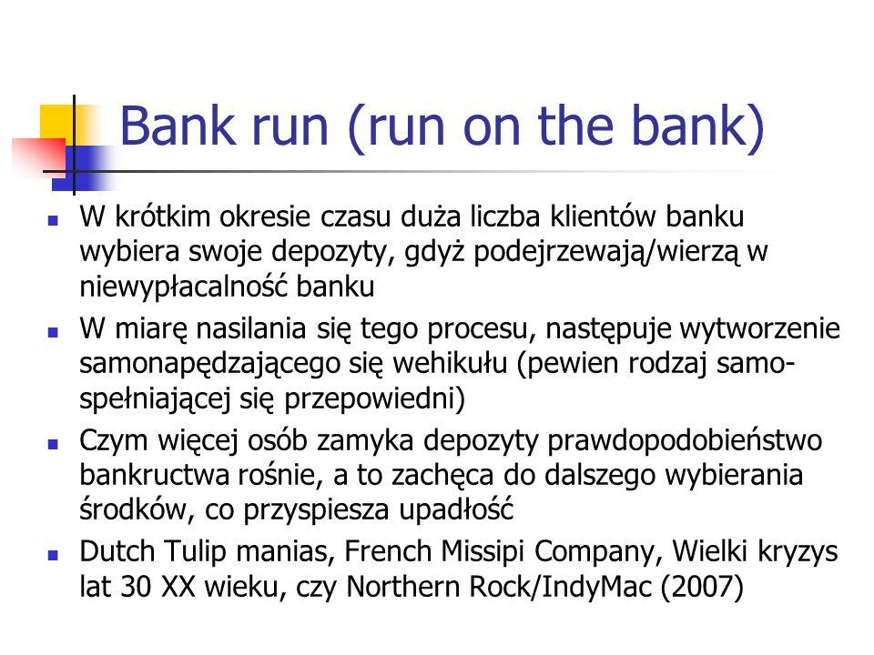 Źródła kryzysów bankowych Niepłynne aktywa i płynne zobowiązania decydują o podatności banków na kryzysy typu bank runs.