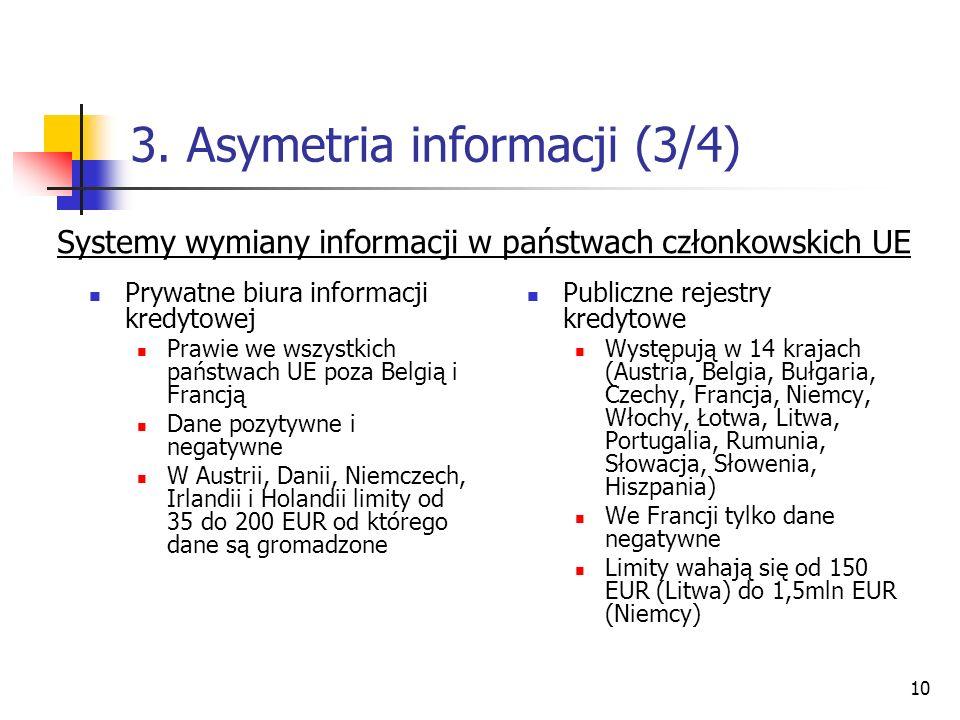 10 3. Asymetria informacji (3/4) Prywatne biura informacji kredytowej Prawie we wszystkich państwach UE poza Belgią i Francją Dane pozytywne i negatyw