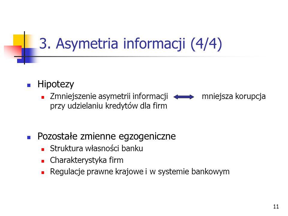 11 3. Asymetria informacji (4/4) Hipotezy Zmniejszenie asymetrii informacji mniejsza korupcja przy udzielaniu kredytów dla firm Pozostałe zmienne egzo