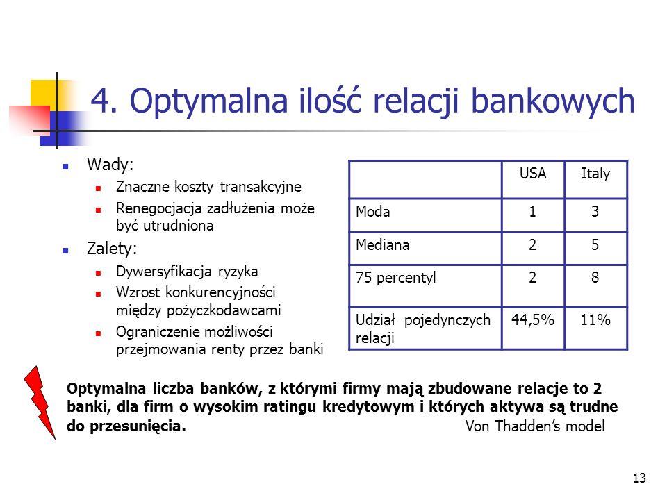 13 4. Optymalna ilość relacji bankowych Wady: Znaczne koszty transakcyjne Renegocjacja zadłużenia może być utrudniona Zalety: Dywersyfikacja ryzyka Wz
