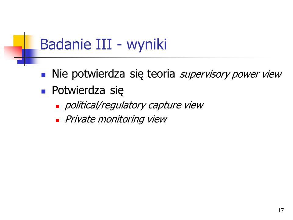 17 Badanie III - wyniki Nie potwierdza się teoria supervisory power view Potwierdza się political/regulatory capture view Private monitoring view