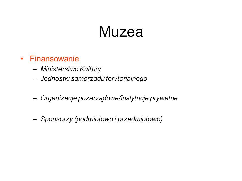 Muzea Finansowanie –Ministerstwo Kultury –Jednostki samorządu terytorialnego –Organizacje pozarządowe/instytucje prywatne –Sponsorzy (podmiotowo i prz