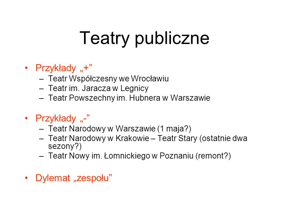 Teatry publiczne Przykłady + –Teatr Współczesny we Wrocławiu –Teatr im. Jaracza w Legnicy –Teatr Powszechny im. Hubnera w Warszawie Przykłady - –Teatr