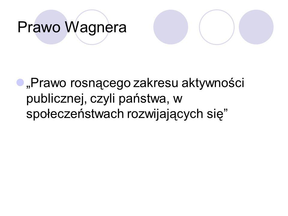 Prawo Wagnera Prawo rosnącego zakresu aktywności publicznej, czyli państwa, w społeczeństwach rozwijających się