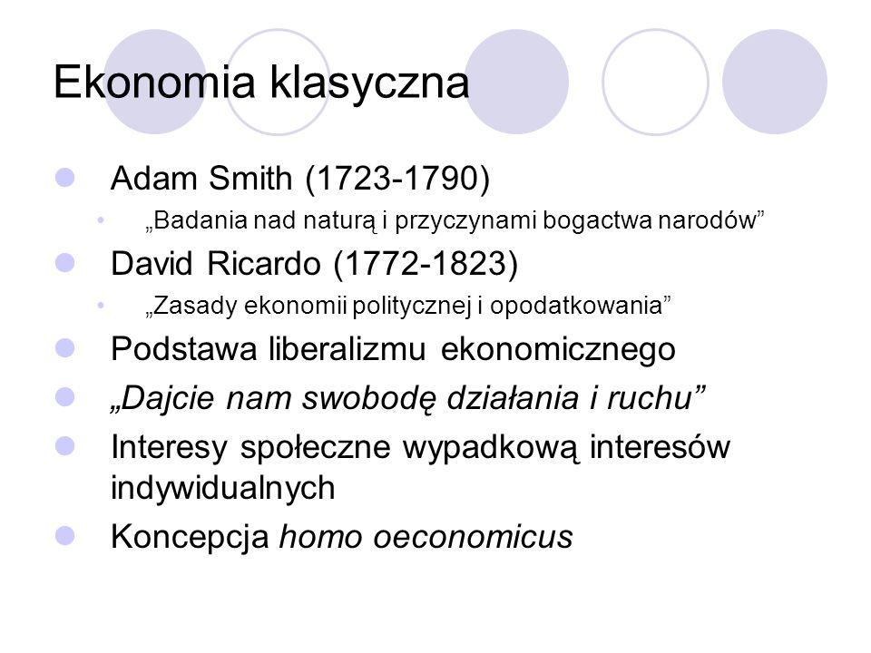 Ekonomia klasyczna Adam Smith (1723-1790) Badania nad naturą i przyczynami bogactwa narodów David Ricardo (1772-1823) Zasady ekonomii politycznej i op