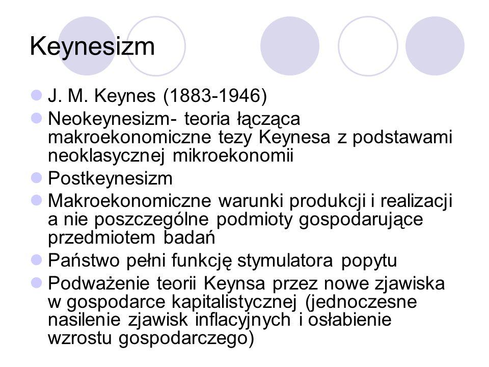Keynesizm J. M. Keynes (1883-1946) Neokeynesizm- teoria łącząca makroekonomiczne tezy Keynesa z podstawami neoklasycznej mikroekonomii Postkeynesizm M