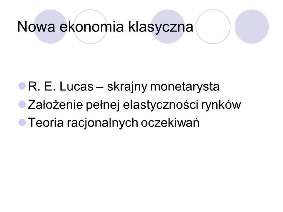 Nowa ekonomia klasyczna R. E. Lucas – skrajny monetarysta Założenie pełnej elastyczności rynków Teoria racjonalnych oczekiwań
