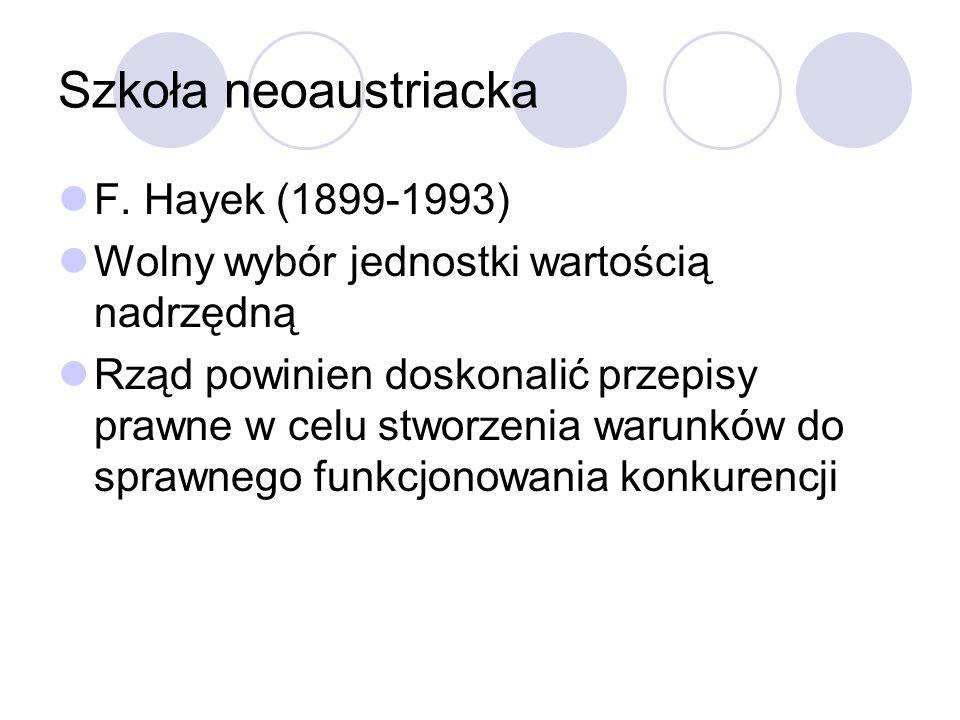 Szkoła neoaustriacka F. Hayek (1899-1993) Wolny wybór jednostki wartością nadrzędną Rząd powinien doskonalić przepisy prawne w celu stworzenia warunkó