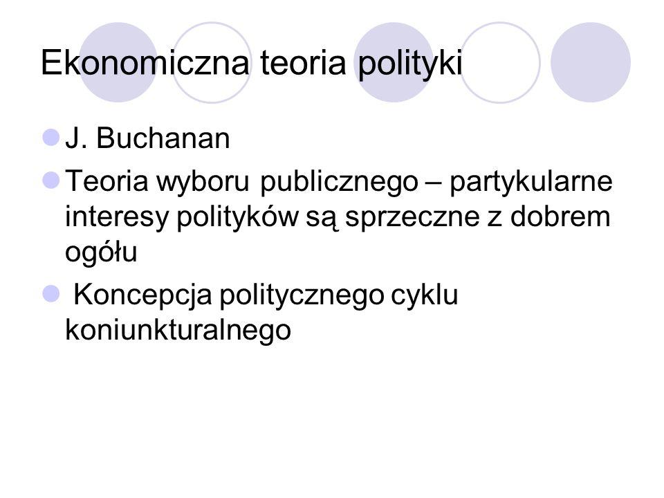 Ekonomiczna teoria polityki J. Buchanan Teoria wyboru publicznego – partykularne interesy polityków są sprzeczne z dobrem ogółu Koncepcja politycznego