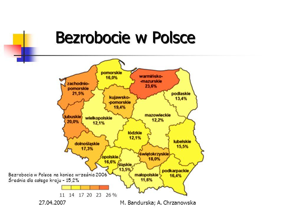 27.04.2007M. Bandurska; A. Chrzanowska Bezrobocie w Polsce Bezrobocia w Polsce na koniec września 2006 Średnia dla całego kraju – 15,2% 11 14 17 20 23