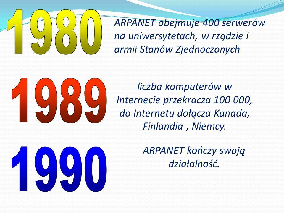 ARPANET obejmuje 400 serwerów na uniwersytetach, w rządzie i armii Stanów Zjednoczonych liczba komputerów w Internecie przekracza 100 000, do Internet