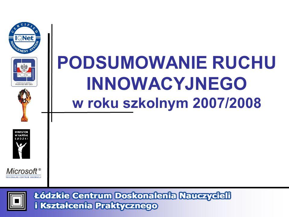 PODSUMOWANIE RUCHU INNOWACYJNEGO w roku szkolnym 2007/2008