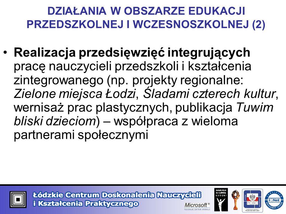 DZIAŁANIA W OBSZARZE EDUKACJI PRZEDSZKOLNEJ I WCZESNOSZKOLNEJ (2) Realizacja przedsięwzięć integrujących pracę nauczycieli przedszkoli i kształcenia zintegrowanego (np.