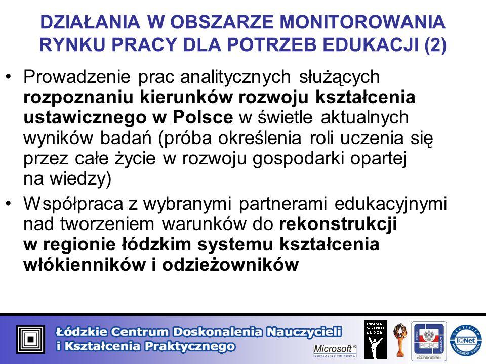 DZIAŁANIA W OBSZARZE MONITOROWANIA RYNKU PRACY DLA POTRZEB EDUKACJI (2) Prowadzenie prac analitycznych służących rozpoznaniu kierunków rozwoju kształcenia ustawicznego w Polsce w świetle aktualnych wyników badań (próba określenia roli uczenia się przez całe życie w rozwoju gospodarki opartej na wiedzy) Współpraca z wybranymi partnerami edukacyjnymi nad tworzeniem warunków do rekonstrukcji w regionie łódzkim systemu kształcenia włókienników i odzieżowników