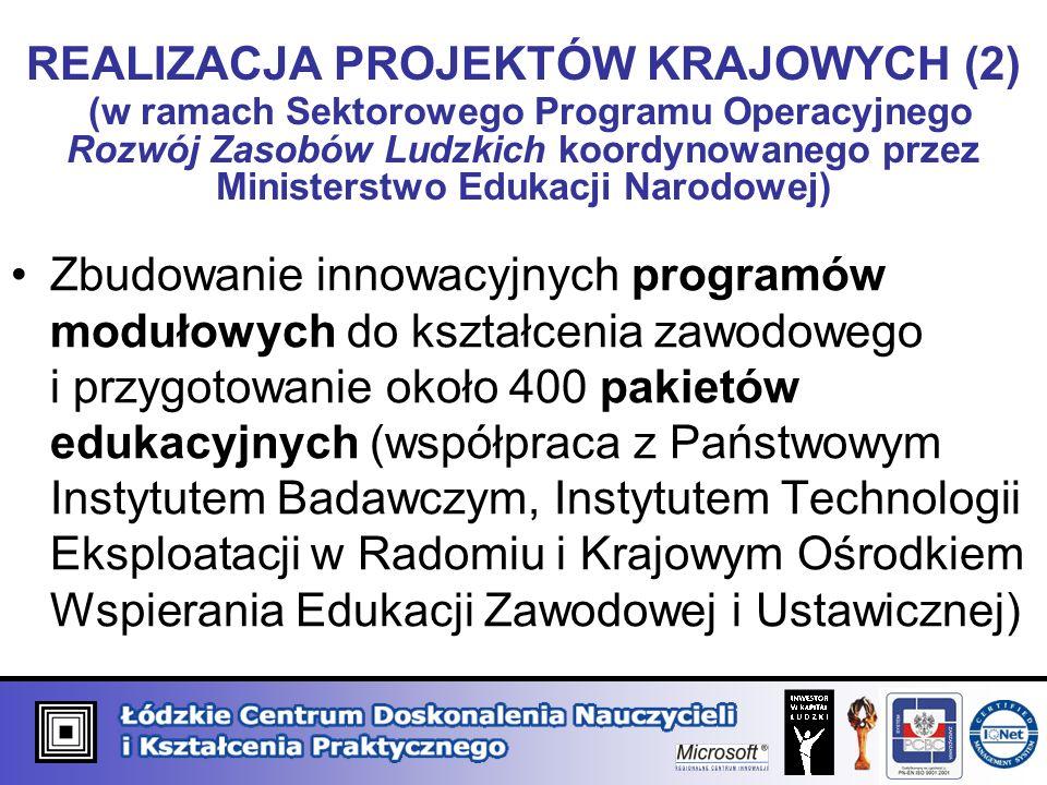 REALIZACJA PROJEKTÓW KRAJOWYCH (2) (w ramach Sektorowego Programu Operacyjnego Rozwój Zasobów Ludzkich koordynowanego przez Ministerstwo Edukacji Narodowej) Zbudowanie innowacyjnych programów modułowych do kształcenia zawodowego i przygotowanie około 400 pakietów edukacyjnych (współpraca z Państwowym Instytutem Badawczym, Instytutem Technologii Eksploatacji w Radomiu i Krajowym Ośrodkiem Wspierania Edukacji Zawodowej i Ustawicznej)