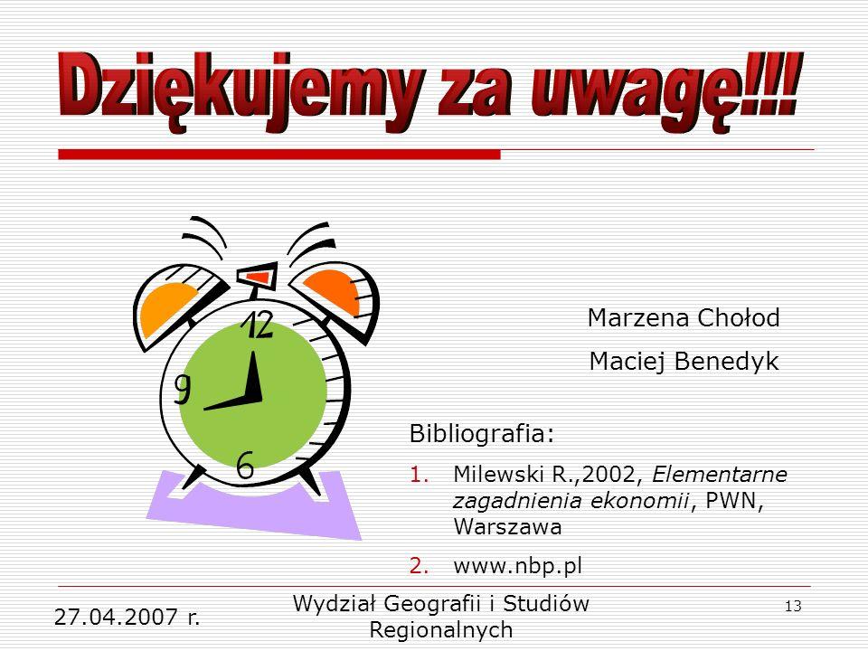 13 27.04.2007 r. Wydział Geografii i Studiów Regionalnych Marzena Chołod Maciej Benedyk Bibliografia: 1.Milewski R.,2002, Elementarne zagadnienia ekon