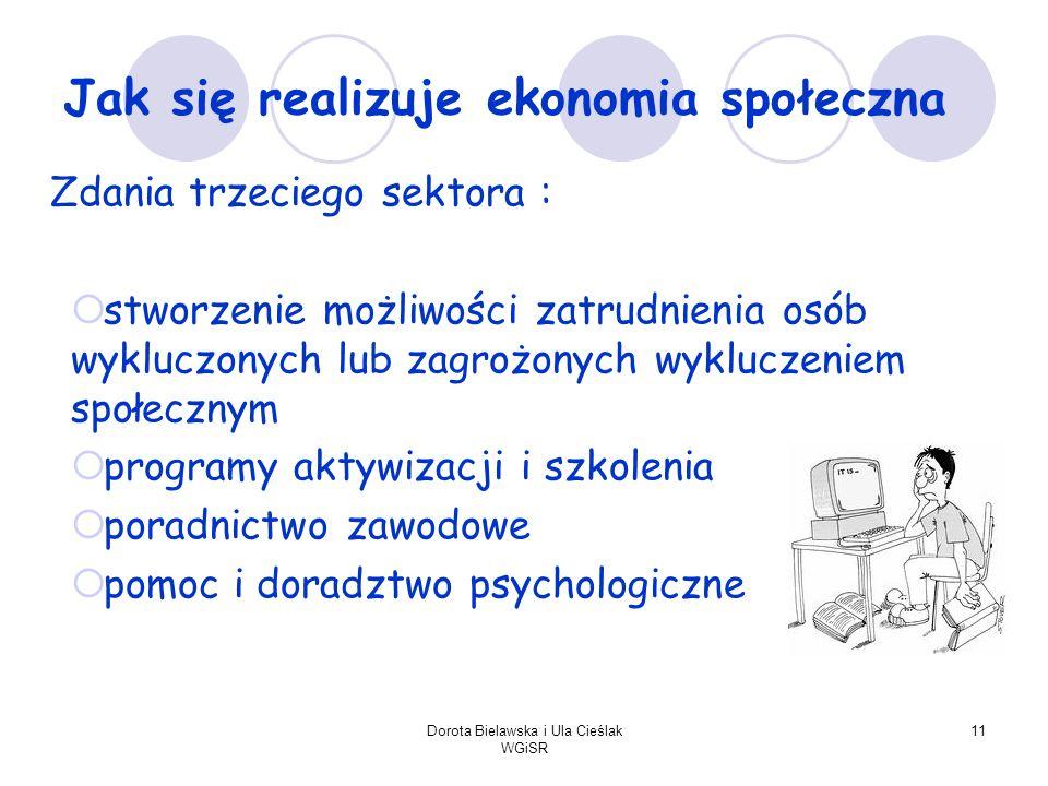 Dorota Bielawska i Ula Cieślak WGiSR 11 Jak się realizuje ekonomia społeczna Zdania trzeciego sektora : stworzenie możliwości zatrudnienia osób wykluc