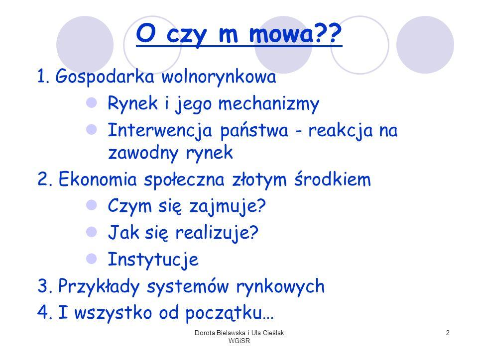 Dorota Bielawska i Ula Cieślak WGiSR 2 O czy m mowa?? 1. Gospodarka wolnorynkowa Rynek i jego mechanizmy Interwencja państwa - reakcja na zawodny ryne