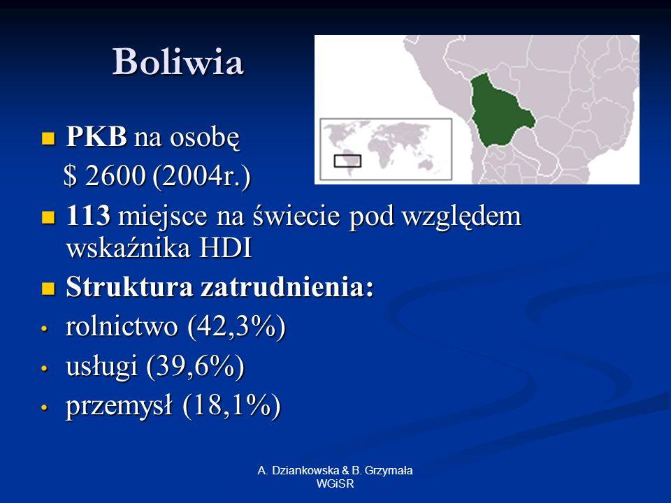 A. Dziankowska & B. Grzymała WGiSR Boliwia PKB na osobę PKB na osobę $ 2600 (2004r.) $ 2600 (2004r.) 113 miejsce na świecie pod względem wskaźnika HDI
