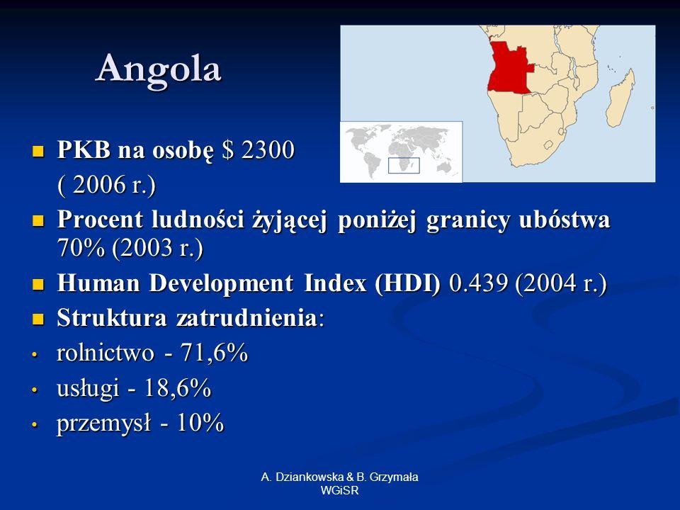 A. Dziankowska & B. Grzymała WGiSR Angola PKB na osobę $ 2300 PKB na osobę $ 2300 ( 2006 r.) ( 2006 r.) Procent ludności żyjącej poniżej granicy ubóst