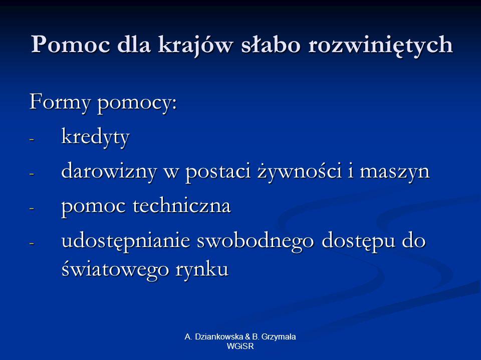 A. Dziankowska & B. Grzymała WGiSR Pomoc dla krajów słabo rozwiniętych Formy pomocy: - kredyty - darowizny w postaci żywności i maszyn - pomoc technic