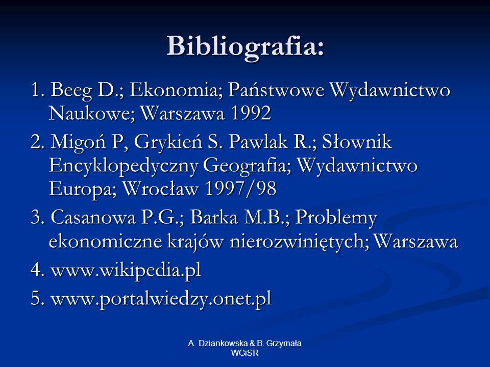 A. Dziankowska & B. Grzymała WGiSR Bibliografia: 1. Beeg D.; Ekonomia; Państwowe Wydawnictwo Naukowe; Warszawa 1992 2. Migoń P, Grykień S. Pawlak R.;