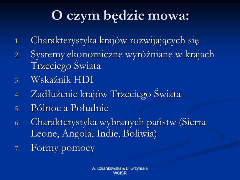 A. Dziankowska & B. Grzymała WGiSR O czym będzie mowa: 1. Charakterystyka krajów rozwijających się 2. Systemy ekonomiczne wyróżniane w krajach Trzecie
