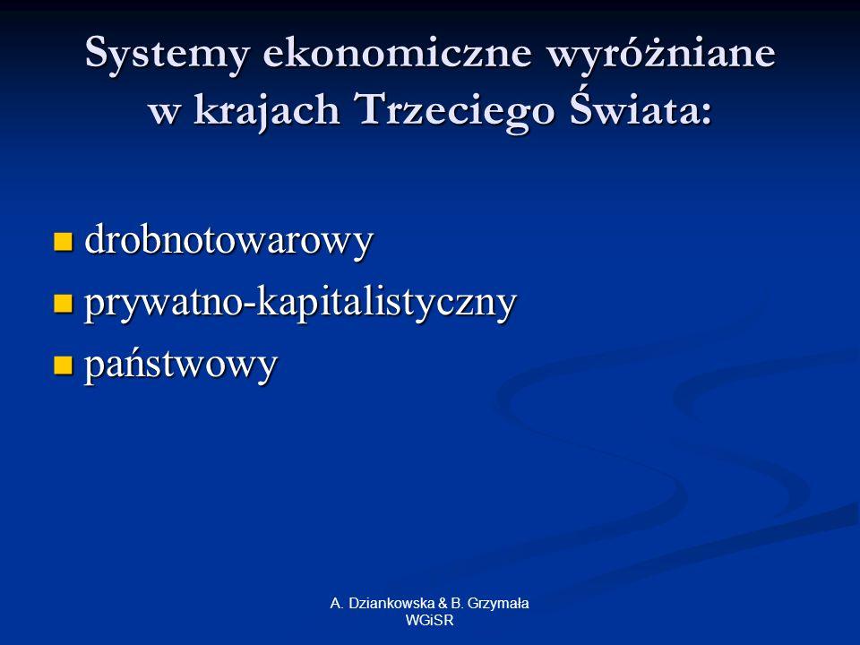 A. Dziankowska & B. Grzymała WGiSR Systemy ekonomiczne wyróżniane w krajach Trzeciego Świata: drobnotowarowy drobnotowarowy prywatno-kapitalistyczny p