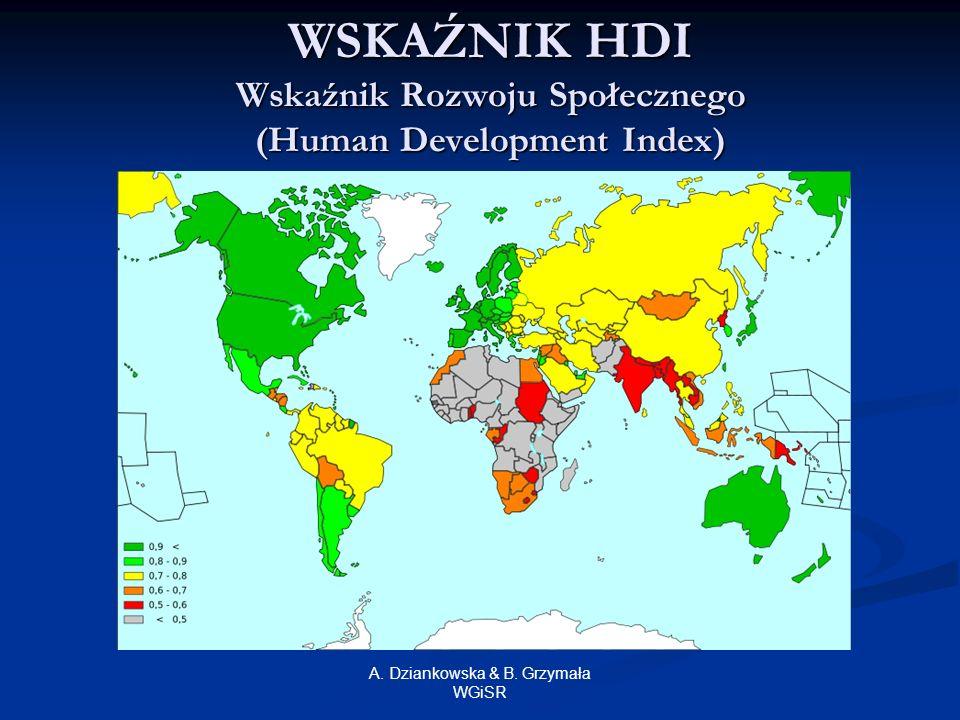 A. Dziankowska & B. Grzymała WGiSR WSKAŹNIK HDI Wskaźnik Rozwoju Społecznego (Human Development Index)