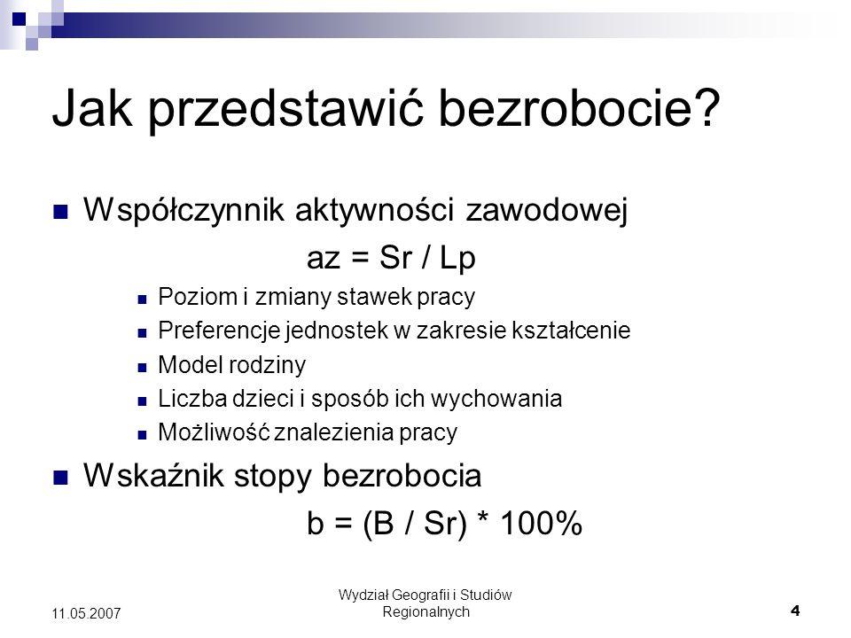 Wydział Geografii i Studiów Regionalnych5 11.05.2007 Jak mierzymy bezrobocie.