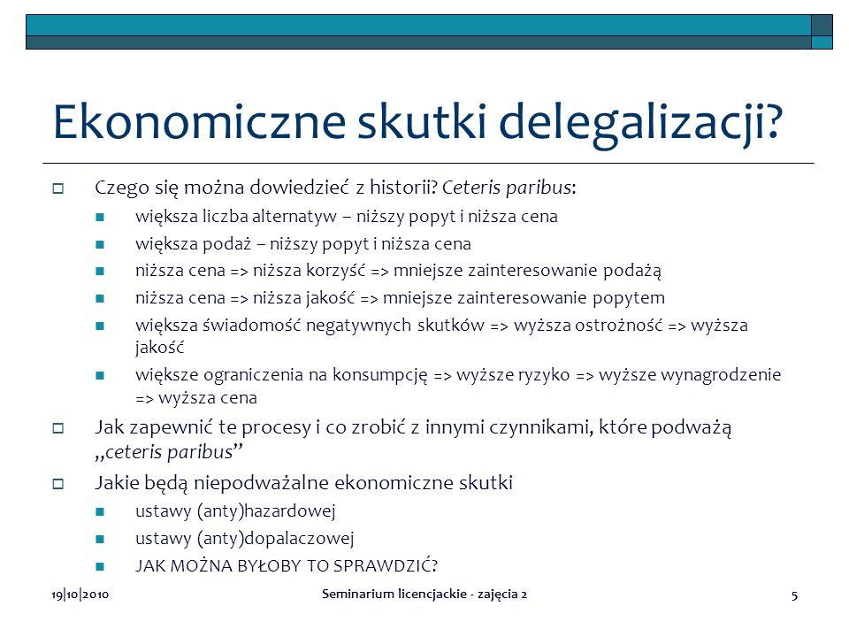 19|10|2010Seminarium licencjackie - zajęcia 25 Ekonomiczne skutki delegalizacji? Czego się można dowiedzieć z historii? Ceteris paribus: większa liczb