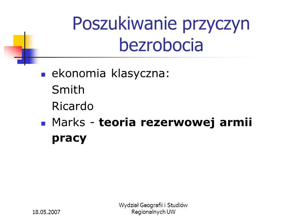 18.05.2007 Wydział Geografii i Studiów Regionalnych UW Poszukiwanie przyczyn bezrobocia ekonomia klasyczna: Smith Ricardo Marks - teoria rezerwowej ar