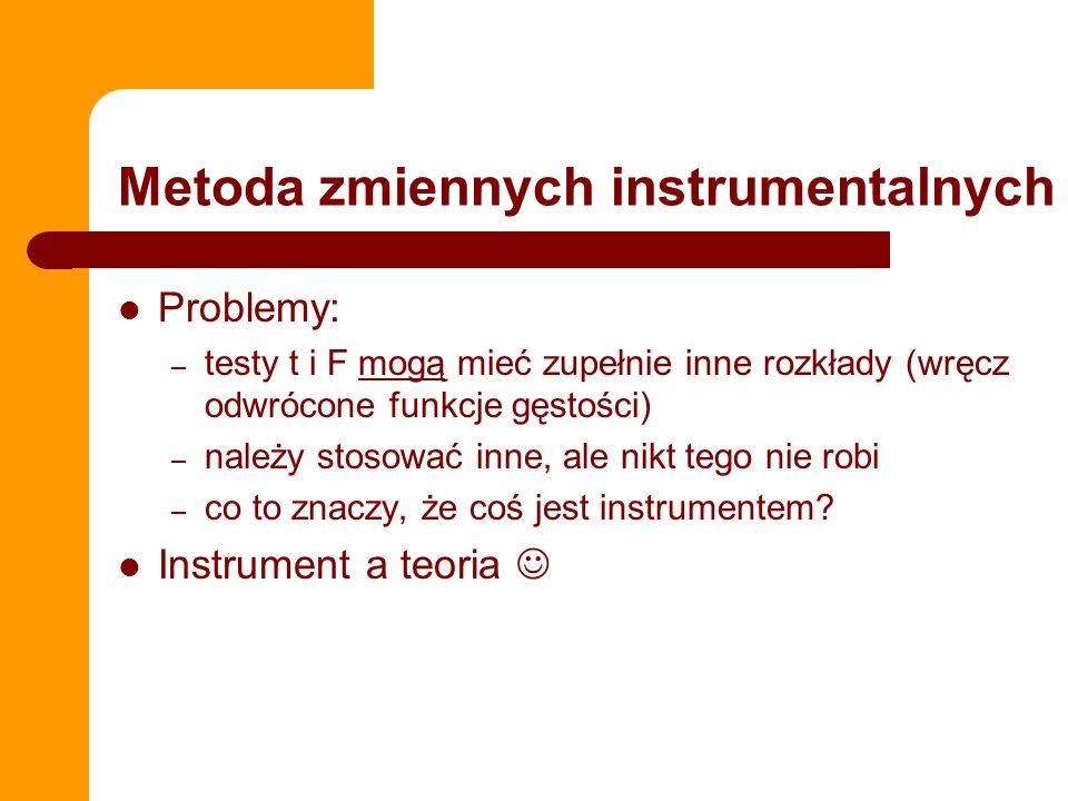 IV w STATA Logika składni w STATA – ivreg y (x1 x2 x3= z1 z2 z3 z4) Przeprowadzamy regresję, w której – y jest zmienną objaśnianą – x1, x2, x3 jest są zmiennymi endogenicznymi (instrumentowanymi) – z1, z2, z3 są zmiennymi egzogenicznymi (instrumentami) MOŻNA RĘCZNIE, MOŻNA AUTOMATEM