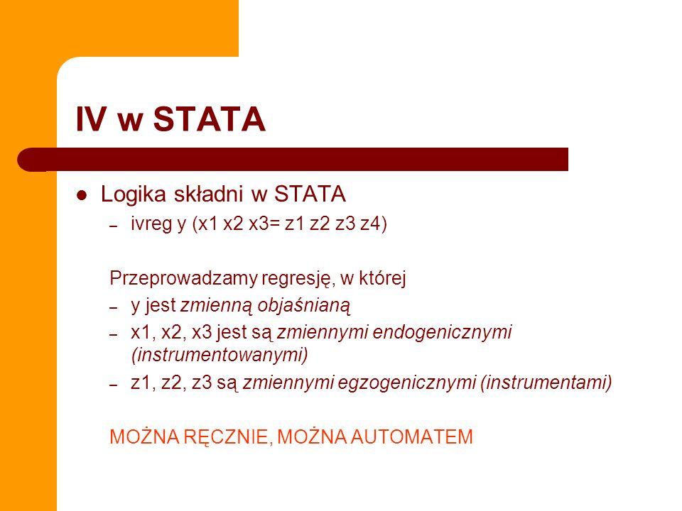 IV w STATA Logika składni w STATA – ivreg y (x1 x2 x3= z1 z2 z3 z4) Przeprowadzamy regresję, w której – y jest zmienną objaśnianą – x1, x2, x3 jest są