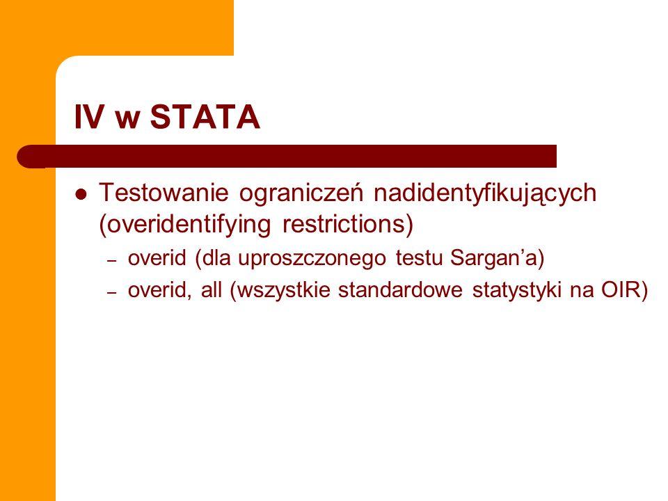 IV w STATA Testowanie ograniczeń nadidentyfikujących (overidentifying restrictions) – overid (dla uproszczonego testu Sargana) – overid, all (wszystki