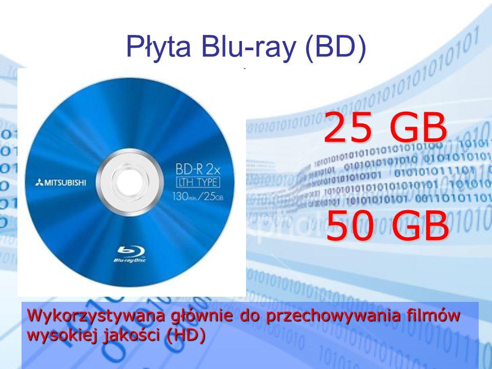 Płyta Blu-ray (BD) Wykorzystywana głównie do przechowywania filmów wysokiej jakości (HD) 25 GB 50 GB 25 GB 50 GB