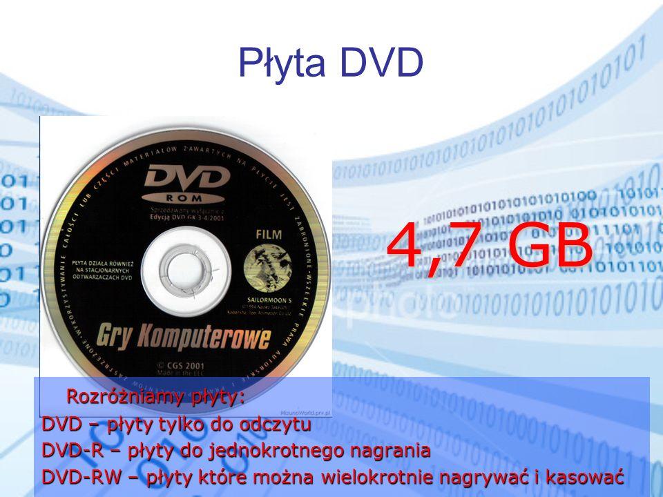 Płyta DVD Rozróżniamy płyty: DVD – płyty tylko do odczytu DVD-R – płyty do jednokrotnego nagrania DVD-RW – płyty które można wielokrotnie nagrywać i k