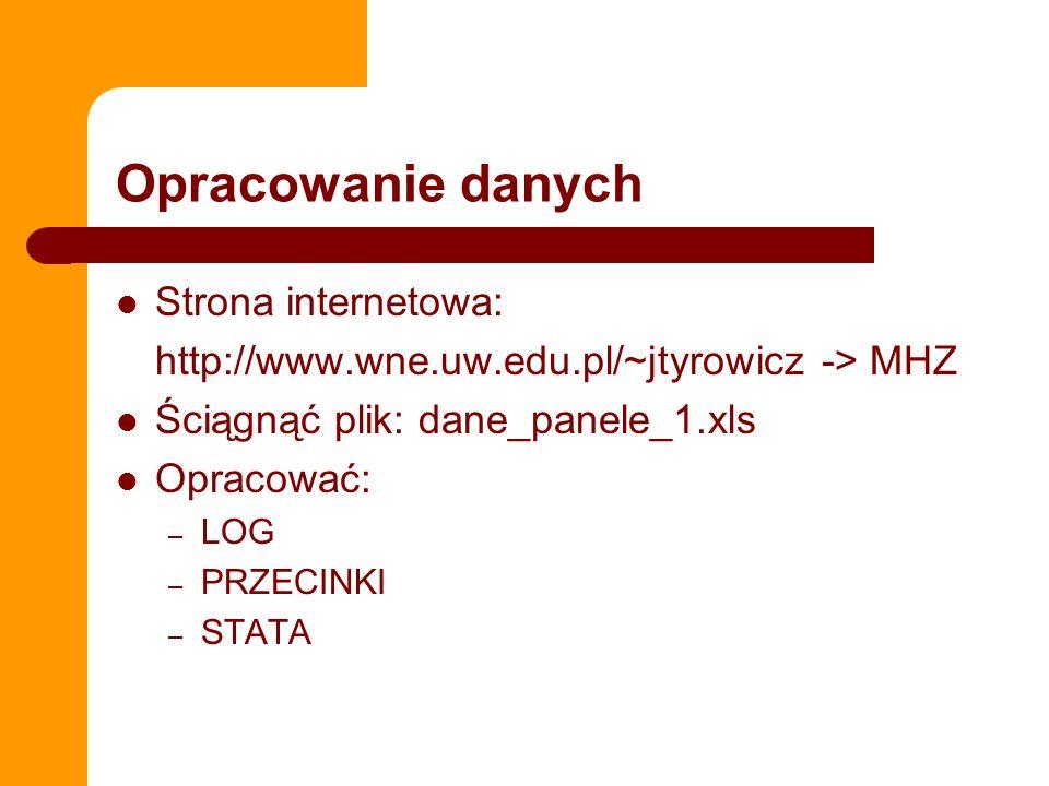 Opracowanie danych Strona internetowa: http://www.wne.uw.edu.pl/~jtyrowicz -> MHZ Ściągnąć plik: dane_panele_1.xls Opracować: – LOG – PRZECINKI – STAT