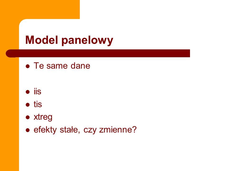 Model panelowy Te same dane iis tis xtreg efekty stałe, czy zmienne?