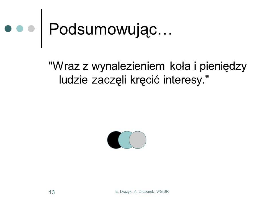 E. Drążyk, A. Drabarek, WGiSR 13 Podsumowując…