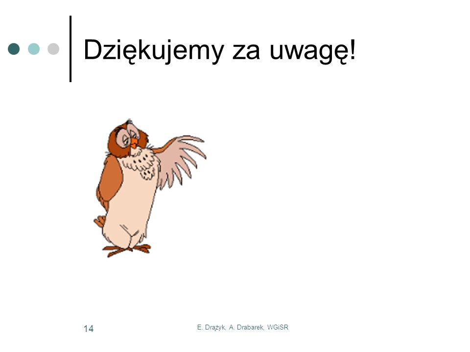 E. Drążyk, A. Drabarek, WGiSR 14 Dziękujemy za uwagę!
