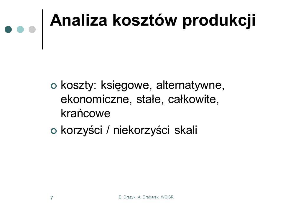 E. Drążyk, A. Drabarek, WGiSR 7 Analiza kosztów produkcji koszty: księgowe, alternatywne, ekonomiczne, stałe, całkowite, krańcowe korzyści / niekorzyś