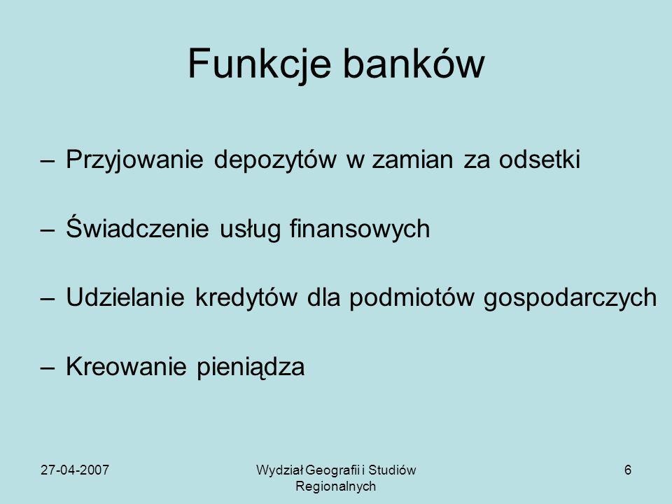27-04-2007Wydział Geografii i Studiów Regionalnych 6 Funkcje banków –Przyjowanie depozytów w zamian za odsetki –Świadczenie usług finansowych –Udziela
