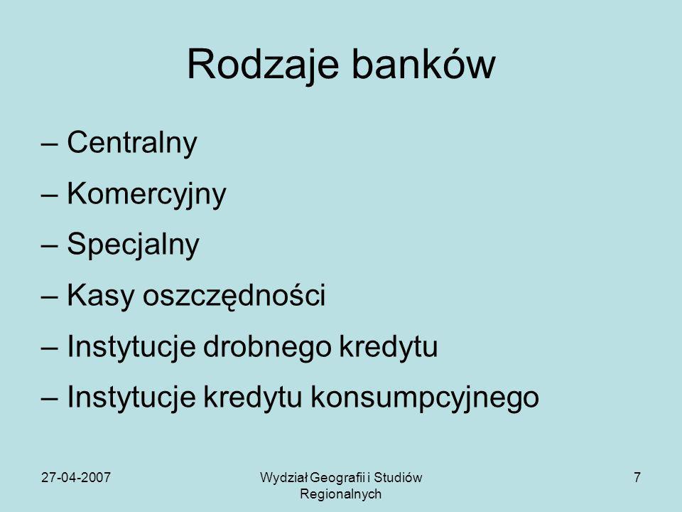 27-04-2007Wydział Geografii i Studiów Regionalnych 7 Rodzaje banków –Centralny –Komercyjny –Specjalny –Kasy oszczędności –Instytucje drobnego kredytu