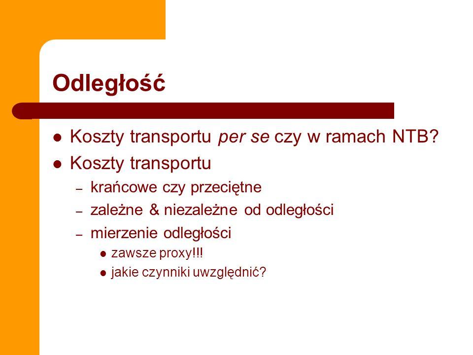 Odległość Koszty transportu per se czy w ramach NTB? Koszty transportu – krańcowe czy przeciętne – zależne & niezależne od odległości – mierzenie odle
