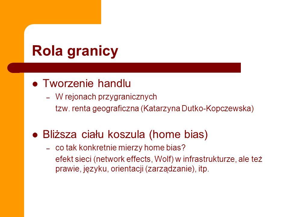 Rola granicy Tworzenie handlu – W rejonach przygranicznych tzw. renta geograficzna (Katarzyna Dutko-Kopczewska) Bliższa ciału koszula (home bias) – co