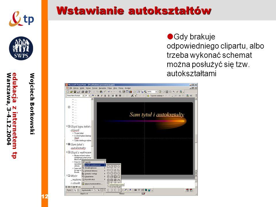 12 edukacja z internetem tpWarszawa, 3-4.12.2004 Wojciech Borkowski Wstawianie autokształtów Gdy brakuje odpowiedniego clipartu, albo trzeba wykonać s